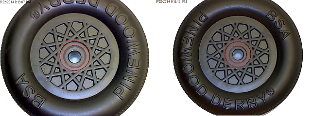 Pinewood derby wheel hub